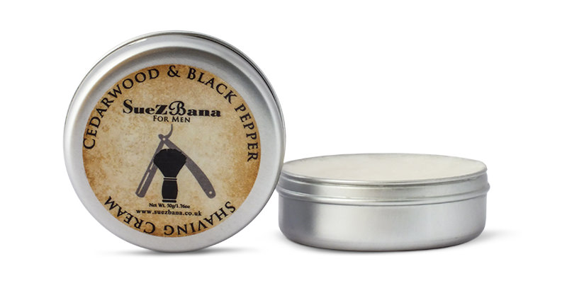 Suezbana cedarwood and black pepper shaving cream pot