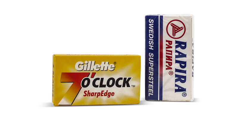 Rapira swedish steel blades and gillette 7o clock yellows